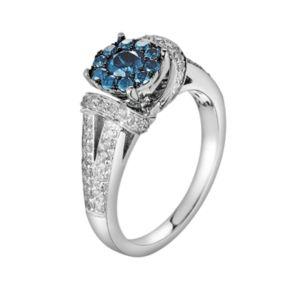 10k White Gold 1-ct. T.W. Blue and White Diamond Frame Ring