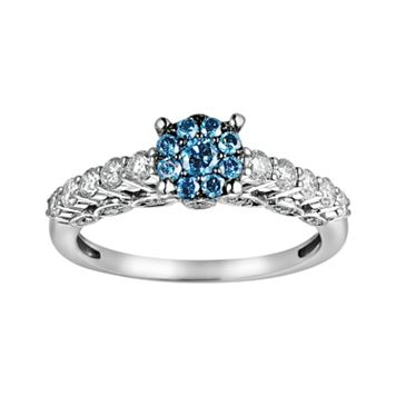 10k White Gold 3/4-ct. T.W. Blue & White Diamond Ring