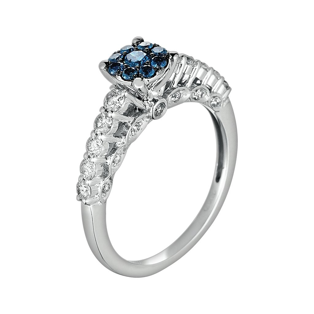10k White Gold 3/4-ct. T.W. Blue and White Diamond Ring