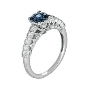 10k White Gold 3/4-ct. T.W. Blue and White Diamond Ring