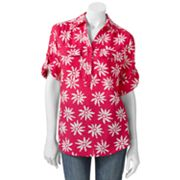 Cathy Daniels Floral Button-Tab Polo
