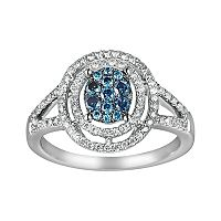 10k White Gold 3/8-ct. T.W. Blue & White Diamond Frame Ring