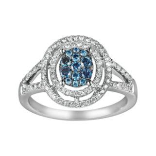 10k White Gold 3/8-ct. T.W. Blue and White Diamond Frame Ring