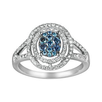10k White Gold 3/8-ct. T.W. Blue & White Diamond Frame Ring