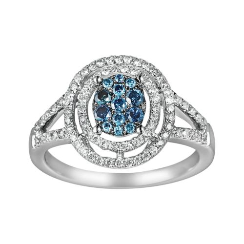 10k White Gold 3/8-ct. T.W. Blue and White Diamond Frame Ring