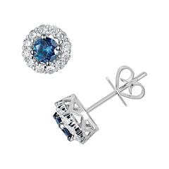 10k White Gold 1 ctT.W. Blue & White Round-Cut Diamond Frame Stud Earrings