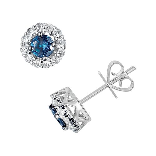 10k White Gold 1-ct. T.W. Blue & White Round-Cut Diamond Frame Stud Earrings