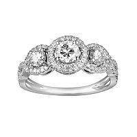 10k White Gold 1 ctT.W. 3-Stone Round-Cut Diamond Frame Ring