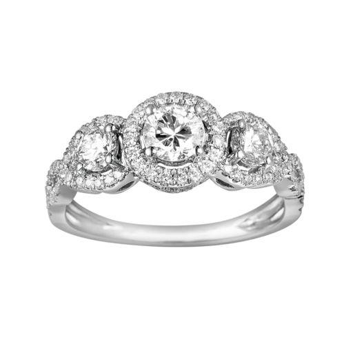 10k White Gold 1-ct. T.W. 3-Stone Round-Cut Diamond Frame Ring