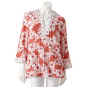 Cathy Daniels Floral Crochet-Trim Pucker Tunic
