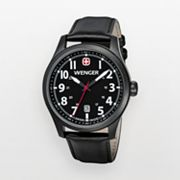 Wenger Terragraph Stainless Steel Black Ion Leather Watch - 0541.101 - Men