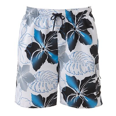 Croft and Barrow Chrome Hibiscus Swim Trunks