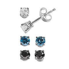 Sterling Silver 3/4 ctT.W. White, Black & Blue Diamond Solitaire Stud Earring Set