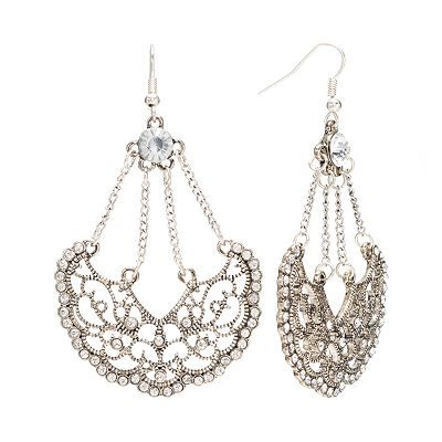 Candie's Silver Tone Simulated Crystal Filigree Drop Earrings