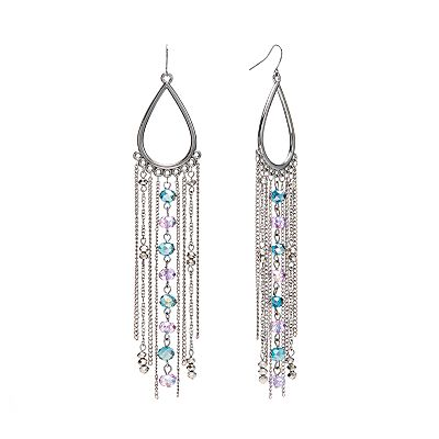 Candie's Jet Simulated Crystal Chandelier Earrings