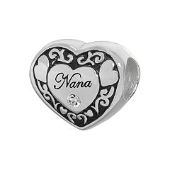 Individuality Beads Sterling Silver Crystal 'Nana' Heart Bead