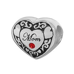 Individuality Beads Sterling Silver Crystal 'Mom' Heart Bead