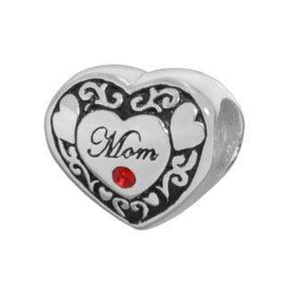 Individuality Beads Sterling Silver Crystal Mom Heart Bead