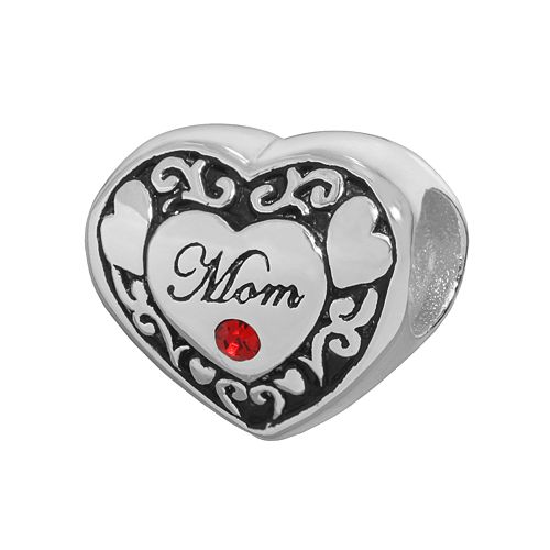 "Individuality Beads Sterling Silver Crystal ""Mom"" Heart Bead"