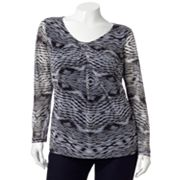 Jennifer Lopez Printed Pleated Mesh Top - Women's Plus