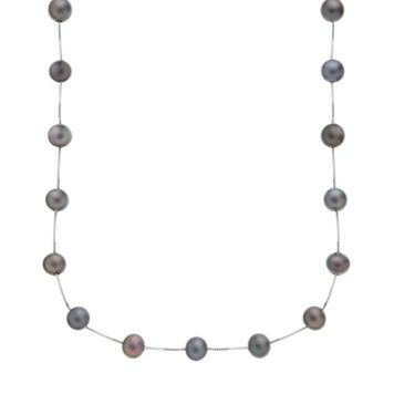 14k White Gold Dyed Freshwater Cultured Pearl Station Necklace