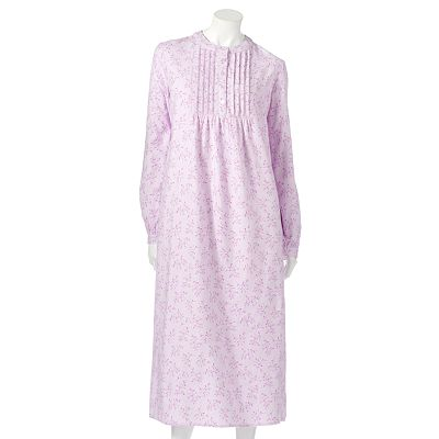 Croft and Barrow Pintuck Long Flannel Nightgown