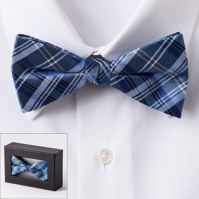 Croft and Barrow Plaid Pretied Boxed Bow Tie