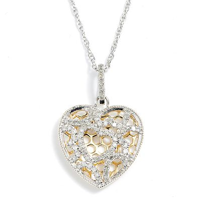 18k Gold Over Silver and Sterling Silver .46-ct. T.W. Diamond Openwork Heart Pendant