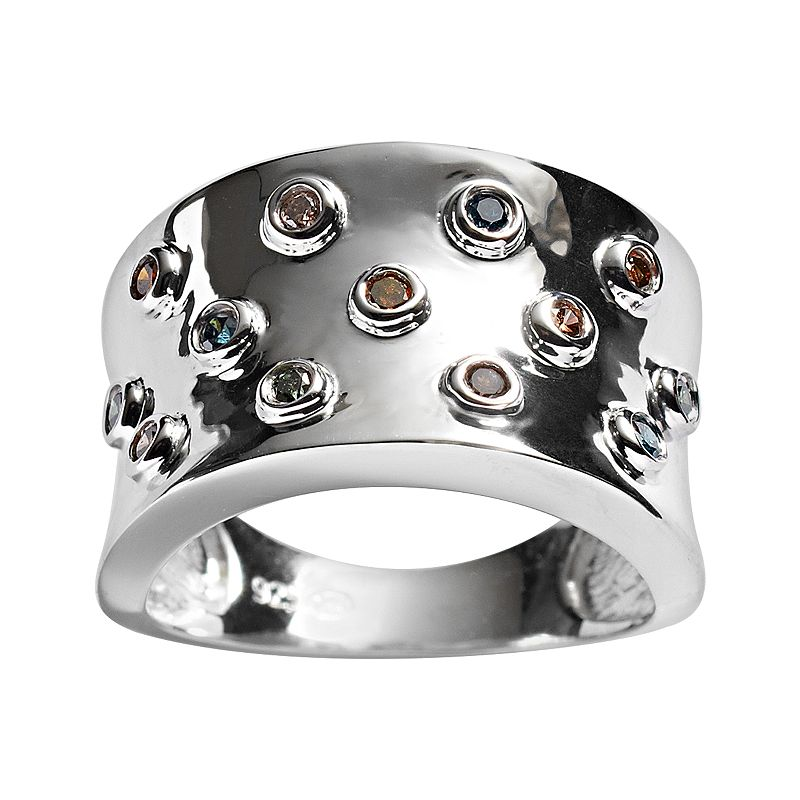 Sterling Silver 1/4-ct. T.W. Multicolored Diamond Concave Ring