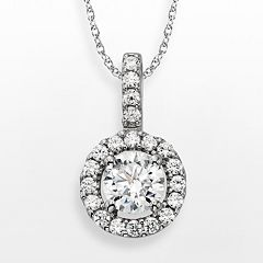Diamonore Sterling Silver 1 1/2-ct. T.W. Simulated Diamond Halo Pendant