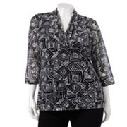 Dana Buchman Geometric Mesh Top - Women's Plus