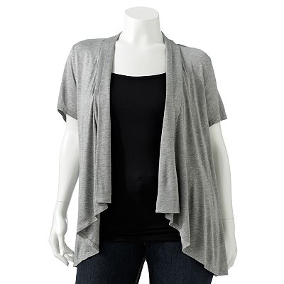 Apt. 9 Pleated Open-Front Cardigan - Women's Plus