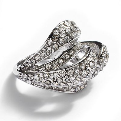 Jennifer Lopez Silver Tone Simulated Crystal Dome Ring