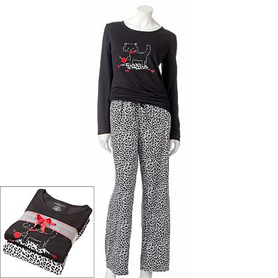 Croft and Barrow Print Microfleece Pajama Gift Set - Women's Plus