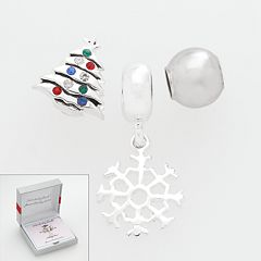Individuality Beads Sterling Silver Crystal Christmas Tree, Snowflake & Spacer Bead Set