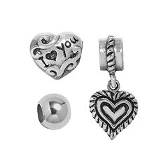 Individuality Beads Sterling Silver Heart Charm, 'I Love You' Bead & Spacer Bead Set