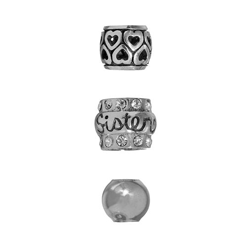"Individuality Beads Sterling Silver Crystal ""Sister"", Heart & Spacer Bead Set"