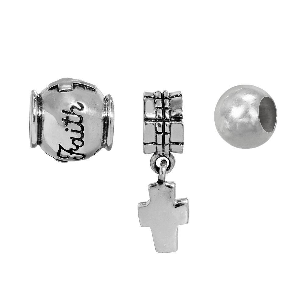 """Individuality Beads Sterling Silver Cross Charm & """"Faith"""" & Spacer Bead Set"""
