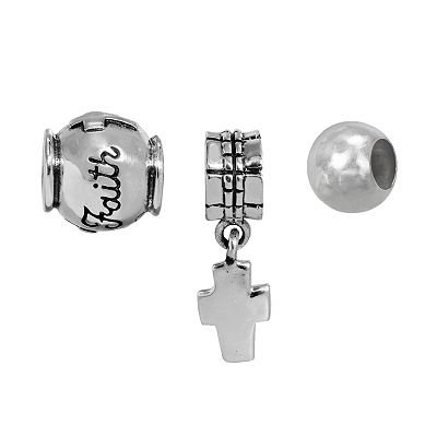 Individuality Beads Sterling Silver Cross Charm and Faith and Spacer Bead Set