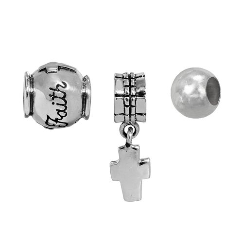 "Individuality Beads Sterling Silver Cross Charm & ""Faith"" & Spacer Bead Set"