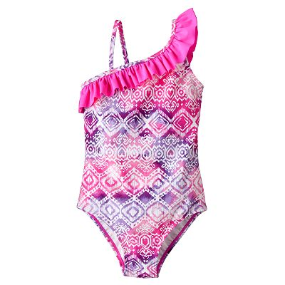 Mudd Tie-Dye Asymmetrical One-Piece Swimsuit - Girls 4-6x