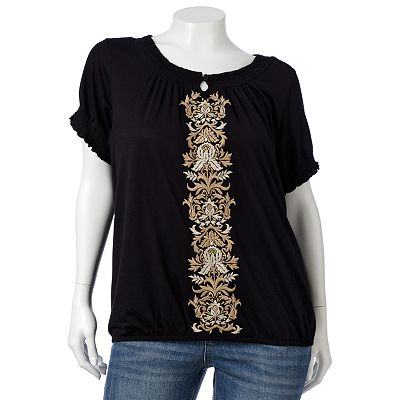 Croft and Barrow Lurex Embroidered Top - Women's Plus