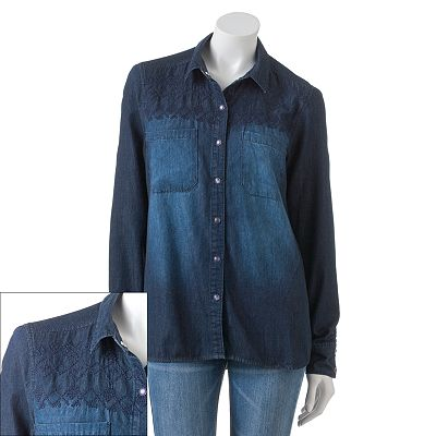 Mudd Embroidered Denim Button-Front Top - Juniors