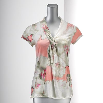 Simply Vera Vera Wang Watercolor Top - Petite