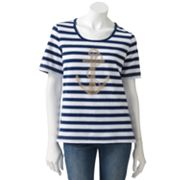 Cathy Daniels Striped Anchor Embellished Tee