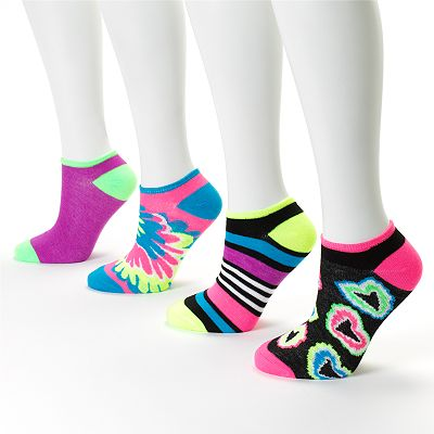 SO 4-pk. Heart and Stripe No-Show Socks