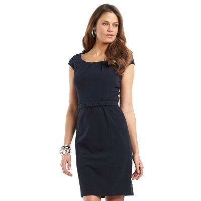 Chaps Pleated Sheath Dress