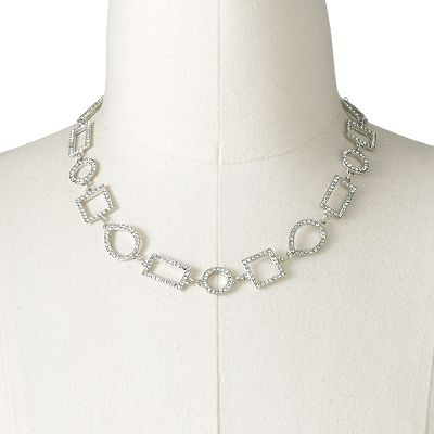 Chaps Silver Tone Simulated Crystal Necklace