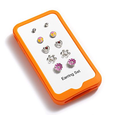 Silver Tone Simulated Crystal and Simulated Pearl Stud Earring and iPhone Case Set