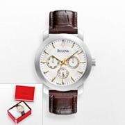 Bulova Stainless Steel Leather Watch - 96C120K - Men